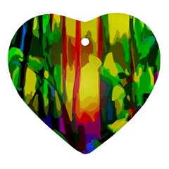 Abstract Vibrant Colour Botany Heart Ornament (Two Sides)