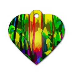 Abstract Vibrant Colour Botany Dog Tag Heart (one Side) by Nexatart