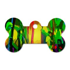 Abstract Vibrant Colour Botany Dog Tag Bone (two Sides) by Nexatart