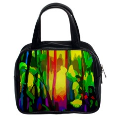 Abstract Vibrant Colour Botany Classic Handbags (2 Sides) by Nexatart