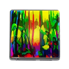 Abstract Vibrant Colour Botany Memory Card Reader (square)
