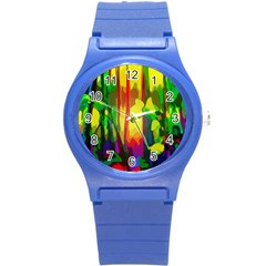 Abstract Vibrant Colour Botany Round Plastic Sport Watch (s)