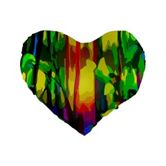 Abstract Vibrant Colour Botany Standard 16  Premium Flano Heart Shape Cushions by Nexatart