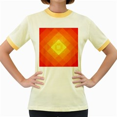 Pattern Retired Background Orange Women s Fitted Ringer T Shirts by Nexatart
