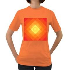 Pattern Retired Background Orange Women s Dark T Shirt