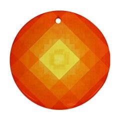 Pattern Retired Background Orange Round Ornament (two Sides)