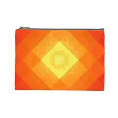 Pattern Retired Background Orange Cosmetic Bag (large)  by Nexatart