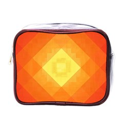 Pattern Retired Background Orange Mini Toiletries Bags by Nexatart