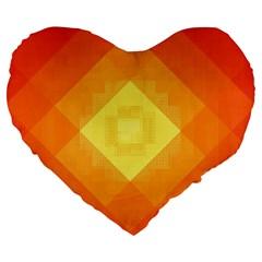 Pattern Retired Background Orange Large 19  Premium Flano Heart Shape Cushions by Nexatart