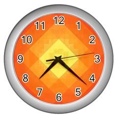 Pattern Retired Background Orange Wall Clocks (silver)  by Nexatart