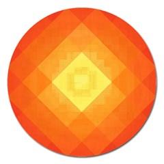 Pattern Retired Background Orange Magnet 5  (round)