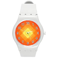 Pattern Retired Background Orange Round Plastic Sport Watch (m)