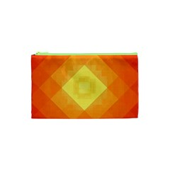 Pattern Retired Background Orange Cosmetic Bag (xs)