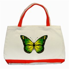 Green Butterfly Classic Tote Bag (red) by linceazul