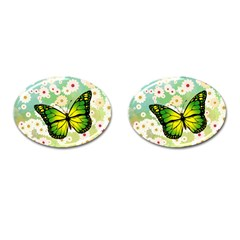 Green Butterfly Cufflinks (oval) by linceazul