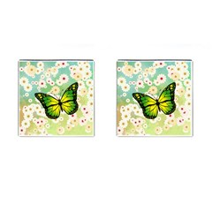 Green Butterfly Cufflinks (square) by linceazul