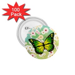 Green Butterfly 1 75  Buttons (100 Pack)  by linceazul