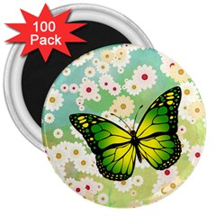 Green Butterfly 3  Magnets (100 Pack) by linceazul