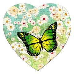 Green Butterfly Jigsaw Puzzle (heart) by linceazul