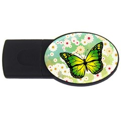 Green Butterfly Usb Flash Drive Oval (4 Gb) by linceazul