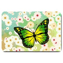 Green Butterfly Large Doormat  by linceazul