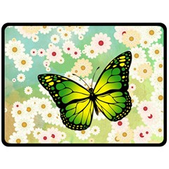 Green Butterfly Fleece Blanket (large)  by linceazul