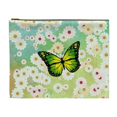 Green Butterfly Cosmetic Bag (xl) by linceazul