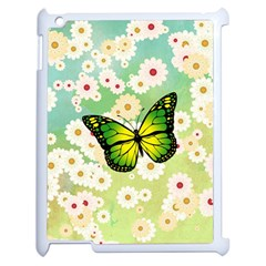 Green Butterfly Apple Ipad 2 Case (white) by linceazul