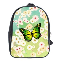 Green Butterfly School Bags (xl)  by linceazul