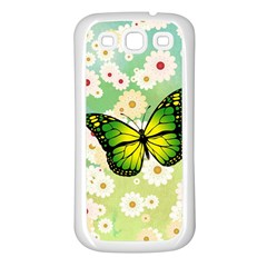 Green Butterfly Samsung Galaxy S3 Back Case (white) by linceazul