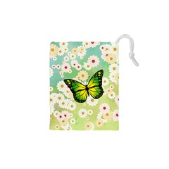 Green Butterfly Drawstring Pouches (xs)  by linceazul