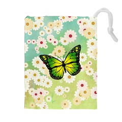 Green Butterfly Drawstring Pouches (extra Large) by linceazul