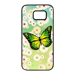 Green Butterfly Samsung Galaxy S7 Edge Black Seamless Case by linceazul