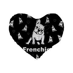 Frenchie Standard 16  Premium Heart Shape Cushions by Valentinaart