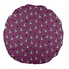 French Bulldog Large 18  Premium Flano Round Cushions by Valentinaart