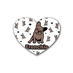 French Bulldog Rubber Coaster (heart)  by Valentinaart