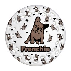 French Bulldog Round Filigree Ornament (two Sides) by Valentinaart