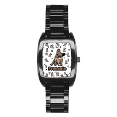 French Bulldog Stainless Steel Barrel Watch by Valentinaart