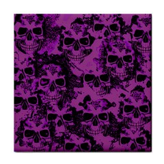 Cloudy Skulls Black Purple Tile Coasters by MoreColorsinLife