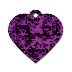 Cloudy Skulls Black Purple Dog Tag Heart (two Sides) by MoreColorsinLife