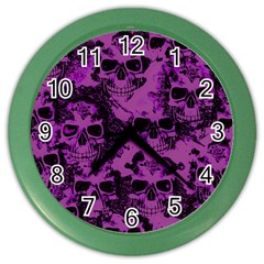 Cloudy Skulls Black Purple Color Wall Clocks by MoreColorsinLife