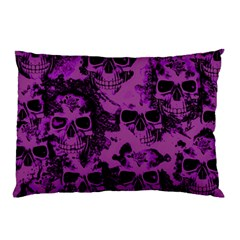 Cloudy Skulls Black Purple Pillow Case by MoreColorsinLife
