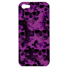 Cloudy Skulls Black Purple Apple Iphone 5 Hardshell Case by MoreColorsinLife