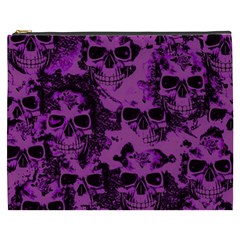 Cloudy Skulls Black Purple Cosmetic Bag (xxxl)  by MoreColorsinLife
