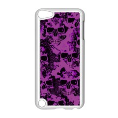 Cloudy Skulls Black Purple Apple Ipod Touch 5 Case (white) by MoreColorsinLife