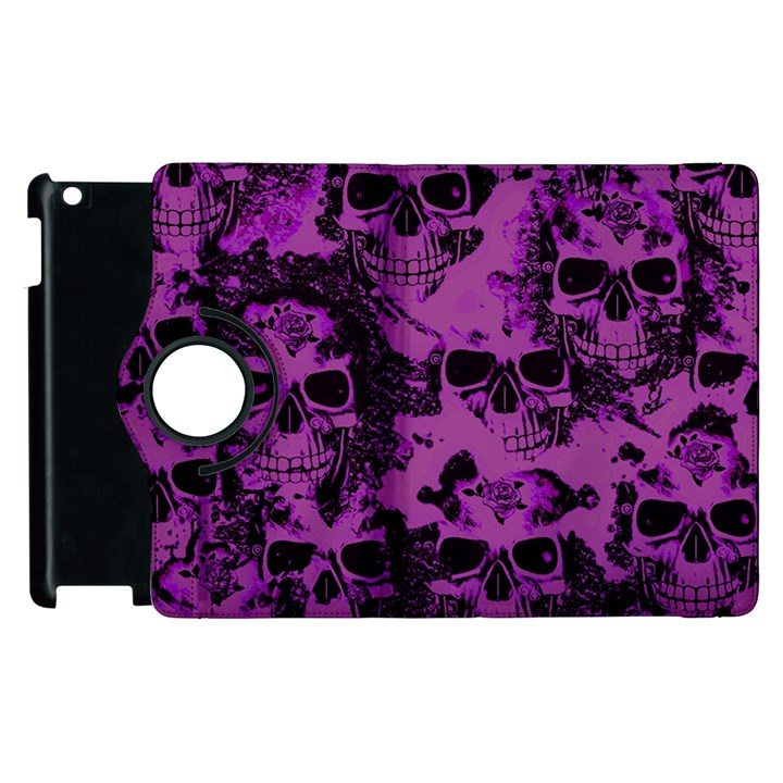Cloudy Skulls Black Purple Apple iPad 3/4 Flip 360 Case