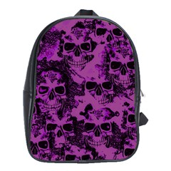 Cloudy Skulls Black Purple School Bags (xl)  by MoreColorsinLife