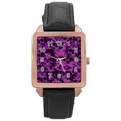 Cloudy Skulls Black Purple Rose Gold Leather Watch  by MoreColorsinLife