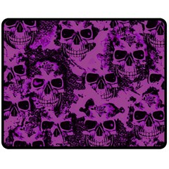 Cloudy Skulls Black Purple Double Sided Fleece Blanket (medium)  by MoreColorsinLife