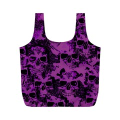 Cloudy Skulls Black Purple Full Print Recycle Bags (m)  by MoreColorsinLife